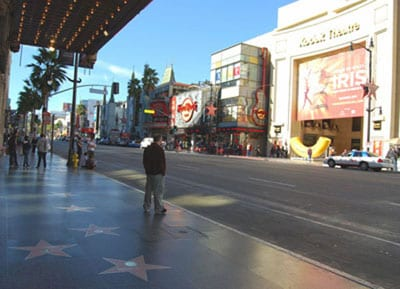 The stars on the Walk of Fame are located on both sides of Hollywood Boulevard and Vine Street.